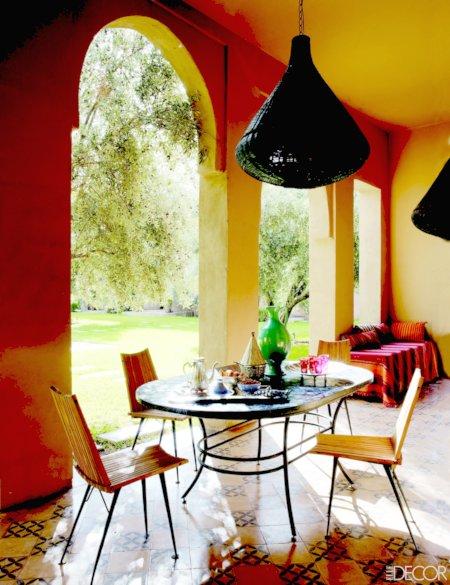 Terrace at Peacock Pavilions of Maryam Montague Elle Decor April 2012