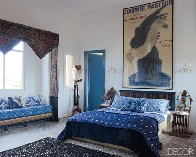 Master bedroom Peacock Pavilions Elle Decor