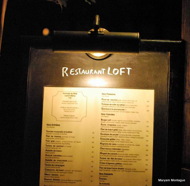Menu at the Loft