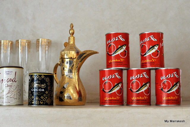 Red sardine cans in Dar Rumi kitchen shelf