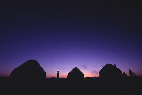 Yurts_at_sunset